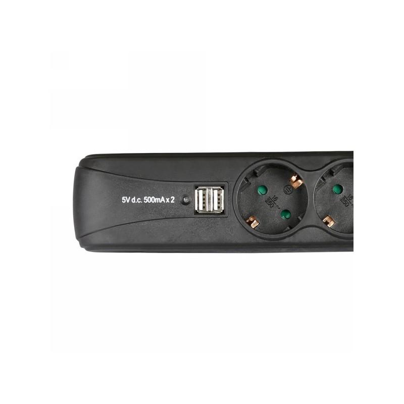 Adam Hall Accessories 8747 S 3 USB - 3-fach Steckdosenleiste mit Scha