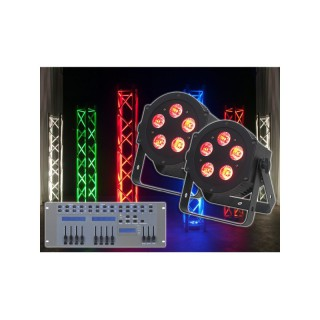 imm-professional.de 2x ADJ 5P HEX PAR LED Lichteffekt + Showtec LED Commander Pro