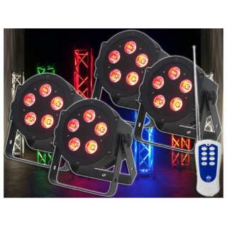 imm-professional.de 4x ADJ 5P HEX PAR LED Lichteffekt inkl. Dotz Par RF remote Fernbedienung Bundle