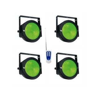 imm-professional.de 4x ADJ Dotz Par LED Scheinwerfer Lichteffekt inkl. RF Remote Fernbedienung Bundle