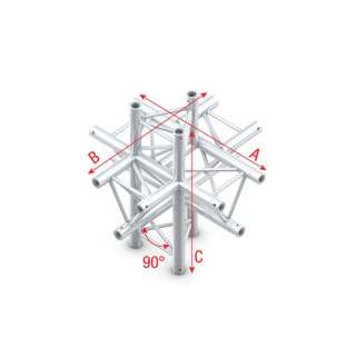 Showtec Cross up/down 6-way T-022 90 Degrees T-cross + up/down 6-way DT22022