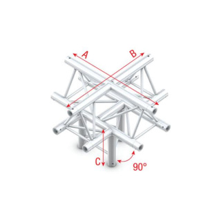 Showtec Cross + down 5-way, apex up T-025 90 Degrees Cross + down 5-way/apex up DT22025